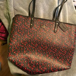 Coach floral print reversible city tote